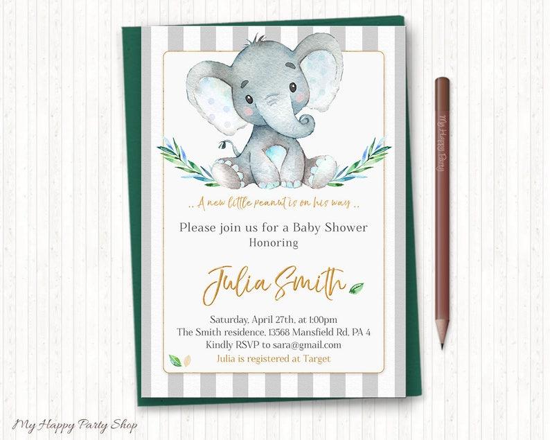 PRINTABLE Little Peanut Shower, Invitation, thank you card, book request, diaper raffle - BSU046B Elephant Baby Shower Invitation Set
