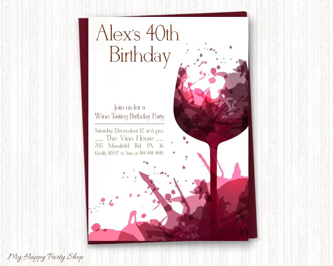 Wine Birthday Invitations Adult Birthday Wine Tasting Adult | Etsy