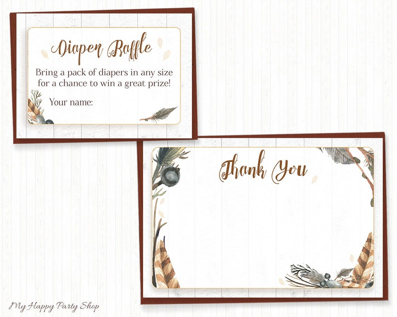Tribal feather baby shower invitation set BSB006 Boho shower -PRINTABLE digital Invitation, thank you card, book request, diaper raffle