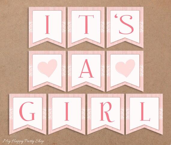 Its A Girl Banner Printable Baby Shower Banner Pink Baby Shower Decorations Its A Girl Sign Girl Shower Idea Instant Download Digital