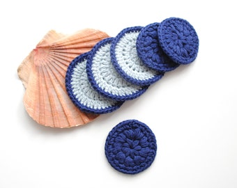 Toner Pads, Mothers Day Gift, Earth Friendly Gifts, Blue  Reusable Cotton Rounds, Makeup Remover Pads, Zero Waste Makeup Poufs