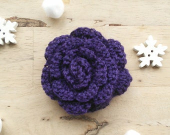 Crochet Brooch, Purple Rose Brooch Pin, Rose Corsage, Flower Brooch, Bag Charm, Flower Rosette, Mothers Day Gift