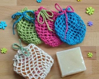 Zero Waste Soap Saver Bag, Eco friendly Soap Sock, Vegan Friendly Cotton Soap Bag, Mesh Soap Bag, Exfoliating Lathering Bag, Crochet Bag