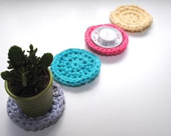 Crochet Coaster Set, Drinks Coasters, Upcycled Tshirt Yarn Coasters, Mug Rug, Pastel Home Decor, Table Decor