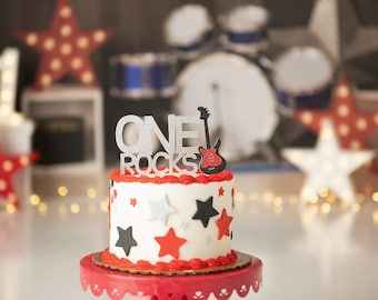 Cool Rock And Roll Cake Etsy Funny Birthday Cards Online Overcheapnameinfo