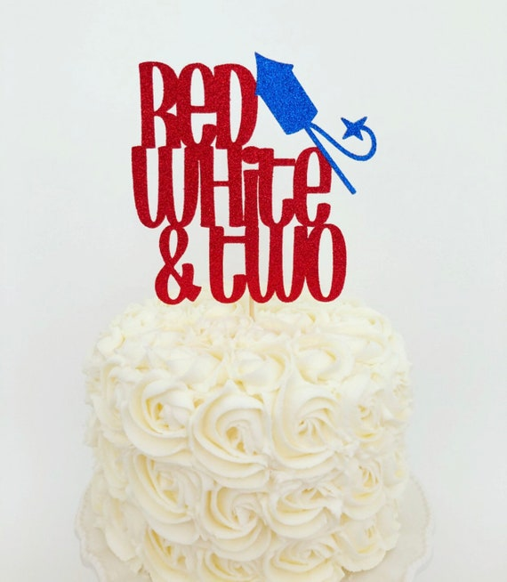 Remarkable Red White Two Cake Topper 4Th Of July Birthday Age Cake Etsy Funny Birthday Cards Online Alyptdamsfinfo