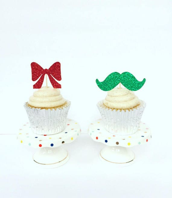 Christmas Cupcake Toppers Christmas Gender Reveal Cupcake Etsy