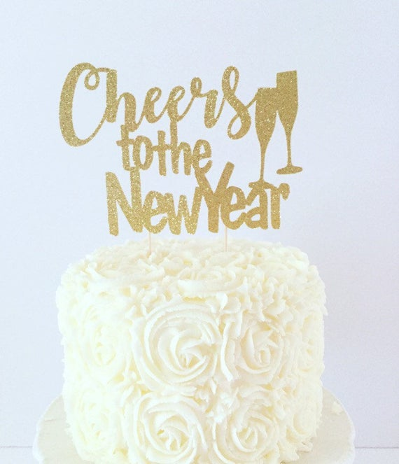 Happy New Year Merry Christmas Class of 2019 Party Decorations Silver Glitter Hello 2019 Cheers to 2019 Cake Topper