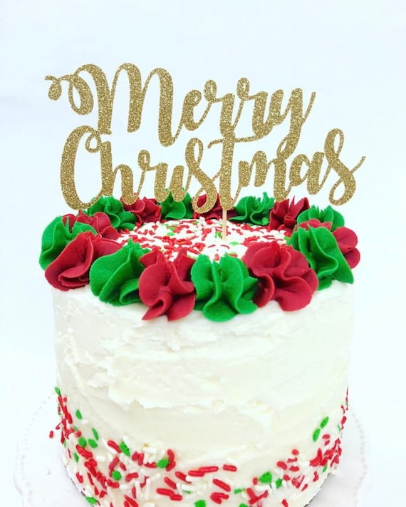 Merry Christmas Cake Topper Holiday Party Christmas Cake Etsy