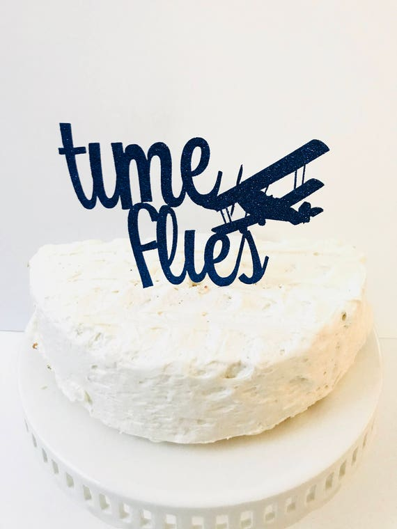 Awe Inspiring Time Flies Cake Topper Time Flies Birthday Airplane Etsy Funny Birthday Cards Online Necthendildamsfinfo