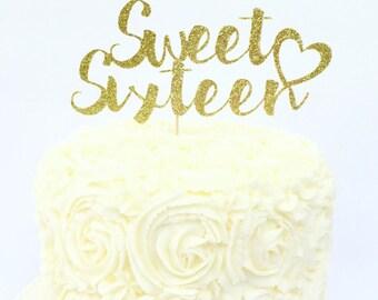 Sweet Sixteen Glitter Cake Topper / Sweet 16 Birthday / Sixteenth Birthday