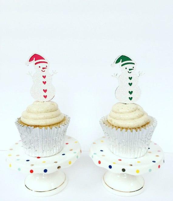 Gender Reveal Snowman Cupcake Toppers Christmas Gender Etsy