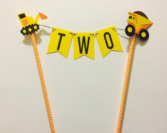 Construction Cake Bunting Topper