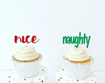 Naughty or Nice Cupcake Toppers / Holiday Party / Christmas Cupcake Toppers / Set of 12