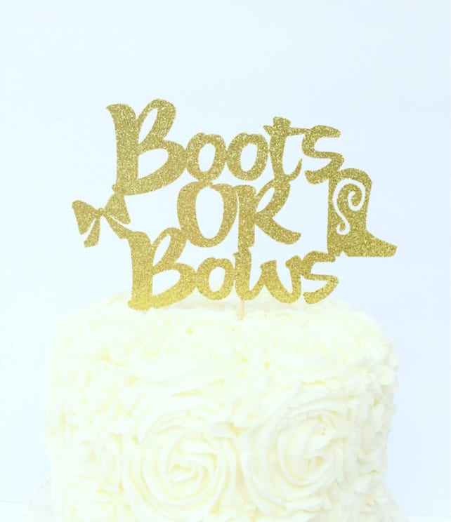 Boots or Bows Gender Reveal Cake Topper | Etsy