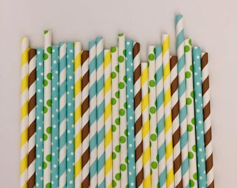 Safari party Paper Straws/ Jungle Party paper straws