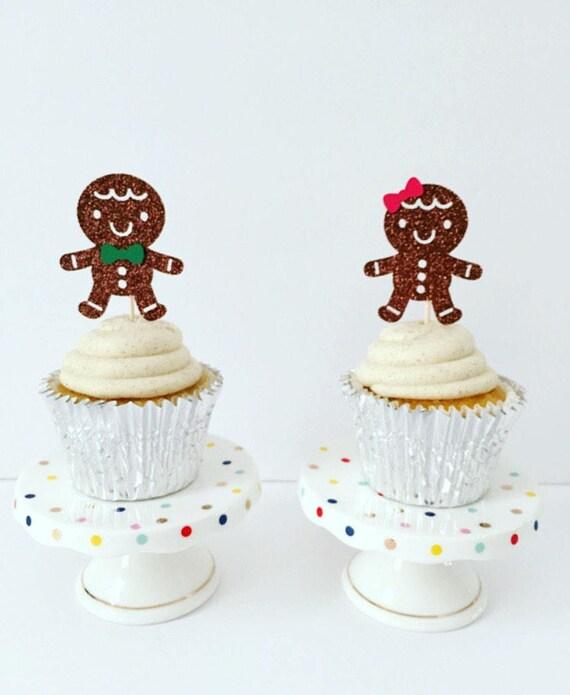 Gender Reveal Gingerbread Cupcake Toppers Christmas Gender Etsy