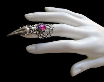 Claw Ring - Gothic - Purple - Vampire - Witchy - Amethyst - Goth Style - Dark - Fashion - Silver - Halloween - Rock - Metal - Wiccan
