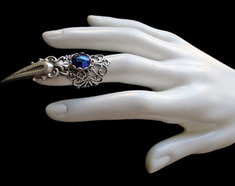 Gothic - Claw Ring - Dark Blue - Vampire - Witchy - Finger - Armor - Goth - Fashion - Cat - Dragon - Witchcraft - Halloween