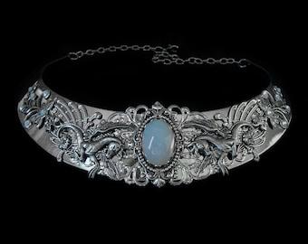 Elven Necklace - Pegasus - Opalescent - Mythical Creature - Medieval - Fantasy - Renaissance - Elvish - Moonstone - Horse - White Opal