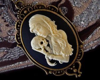 Bohemian Girl - Gipsy - Cameo Necklace - Skull - Día de los Muertos - Day of The Dead - Halloween - Gothic - Skeleton - Macabre - Witchy