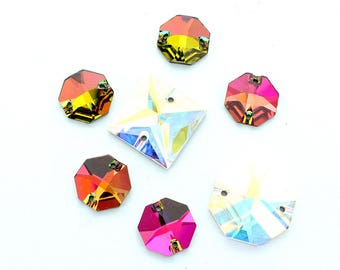 Swarovski 3260 Vintage hexagon rhinestones.  Crystal AB and Vitreal Medium in 16mm and 22mm