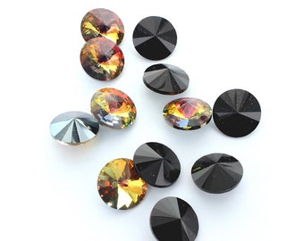 Rivoli stones by Preciosa.  16mm in Marea and jet.  Price is for 5 stones.