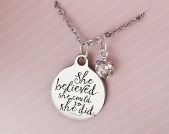 She believed she could so she did necklace, graduation gift, inspirational gifts, motivational gifts, gifts for her,  graduation necklace