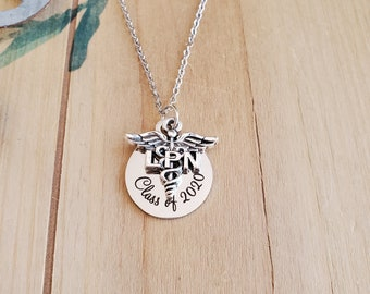 and Custom Bead LPN Necklace with Personalized Initial Lpn Initial Necklace, Lpn Charm Necklace Silver LPN Charm