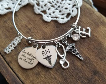 nurse graduation gift, gift for an RN, she believed she could so she did charm bracelet, registered nurse gift for graduation