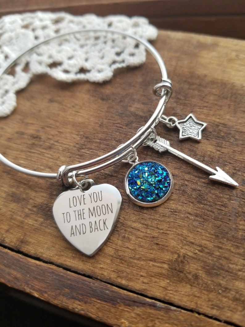 68afe0e37 Love you to the moon and back bracelet gift for daughter | Etsy