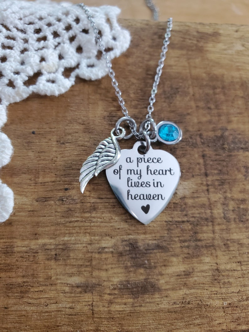 Memorial necklace memorial gift in memory of mom dad angel wing necklace heaven necklace a piece of my heart is in heaven necklace