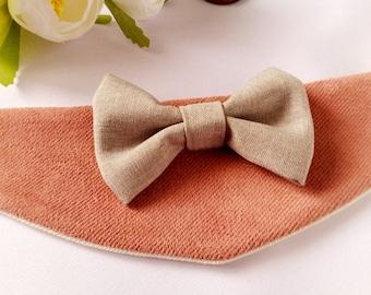 Dog bandana Dog collar,  Dog bow tie , Dog Wedding bandana. Pink  Grey Dog Collar, Dog wedding attire