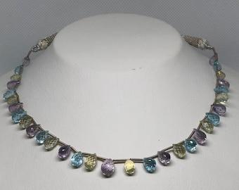 Fabulous Gemstone Drops Necklace - multi color - faceted drops