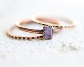 Tiny Amethyst Ring Set Copper Ring Electroformed Ring Gemstone Ring Pattern Ring Band February Birthstone Ring Set