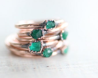 Raw Colombian Emerald copper electroformed organic ring May birthstone