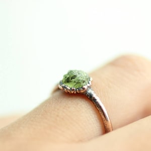 natural copper hammered ring Peridot gemstone electroformed copper ring size 5.25 August birthstone jewelry boho ring