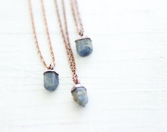 Raw Sapphire copper electroformed necklace, September birthstone pendant with chain