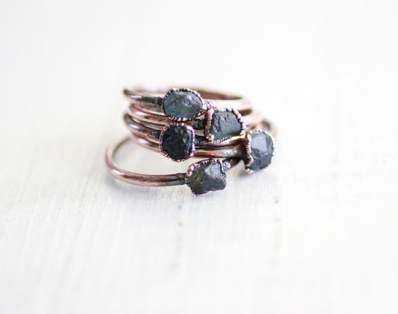 Dainty Raw Red Sapphire Ring  Red Sapphire Birthstone Ring  September Birthstone Jewelry  Sapphire and Copper  Electroformed Sapphire