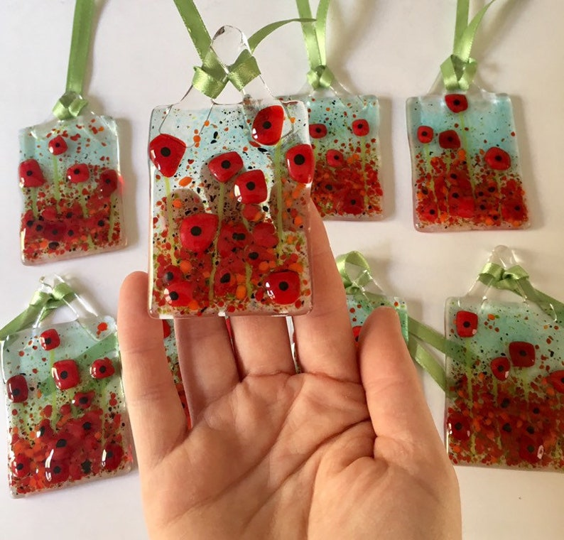 remembrance gift Fused glass poppy art poppy art cornish fused glass, poppy gift Remembrance poppy floral sun catchers