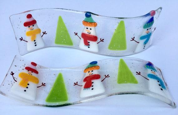 Geschmolzene Glas Schneemann Weihnachtsbaum Dekoration Freistehende Welle Geschmolzenem Glas Weihnachten Cornish Geschmolzenes Glas