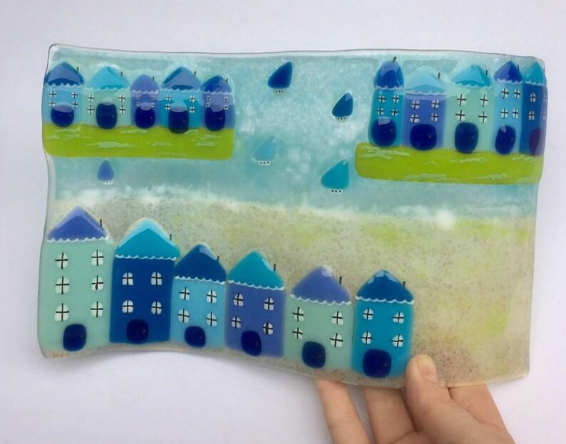 Fused glass cornish fused glass fused glass coastal cottages beach scene art