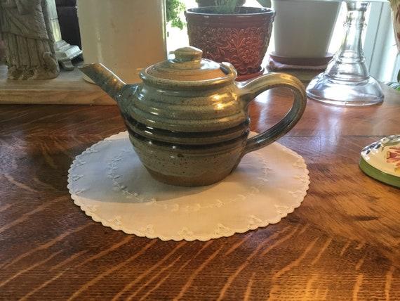 Studio Art Pottery Teapot Drip Glaze Aqua Blue Cobalt Blue Etsy