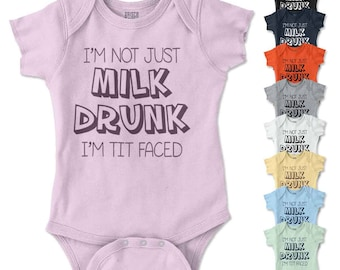 Milk Drunk New Parents Baby Shower Gifts Funny Saying Baby Romper Bodysuit