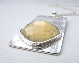 Sterling Silver Statement Necklace. Handmade silver necklace. Gift for her. Yellow stone necklace. Birthday gift. Wedding gift. Bridesmaid