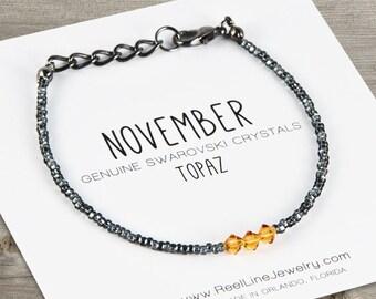 November Birthstone Bracelet, Topaz Birthstone Bracelet, Friendship Bracelet, Birthday Gift, Birthday Bracelet, Swarovski Crystals
