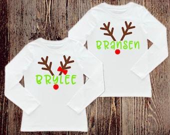 Personalized Reindeer Shirt, Personalized Shirt, Christmas Shirts, Kids Christmas shirts, Christmas party shirt, Twin Christmas Shirts