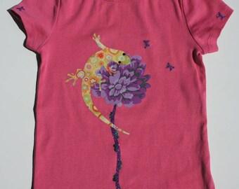T-Shirt Pink short sleeve, 'Salamander' theme.