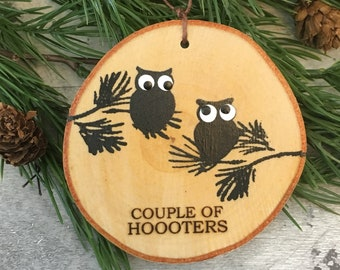 Rustic Birch Owl Couple Of Hooters Ornament Funny Owl Ornament Christmas Ornament Humorous Ornament Owl Decor Woodland Owl Decor