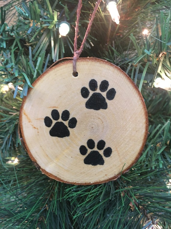 image 0 - Dog Paws/birch Paw Prints Ornament/Christmas Ornament/rustic Etsy